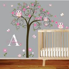 chambre hibou design interieur sticker mural chambre bebe lit bebe hibou arbre