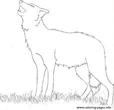easy howling wolf coloring pages printable