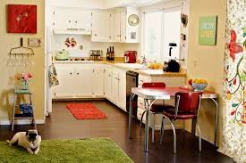 10 kitchen decor ideas for your mobile home rental orange accent rug in kitchen