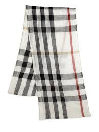 burberry exploded check linen scarf in white lyst