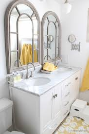 Double Sink Vanities For Small Bathrooms by Remodelaholic Updated Bathroom Single Sink Vanity To Double Sink