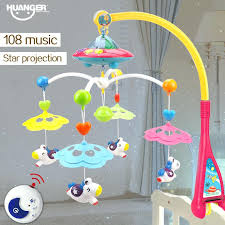 baby night light projector with music baby bed bell musical crib mobile rattle multicolour projection toys