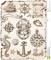 nautical illustrations vector set of various nautical