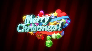 animated merry text with flying gifts and decorations on