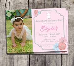 some bunny is turning one birthday photo invitation easter