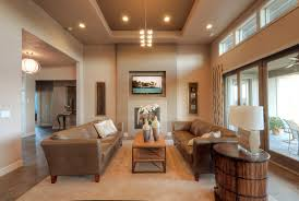 Open Layout Floor Plans Architecture Stylish False Ceiling Lighting Over Cream Vinyl Sofa