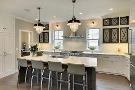 modern cottage kitchen with glass front cabinets contemporary