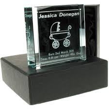 baby engraved gifts personalised pram engraved jade glass block new baby or