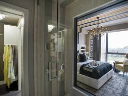 Transitional Master Bedroom Design This Bathroom Window Carved Into The Wall Gives A Lovely View Of