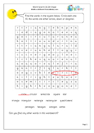 3 2d shape word search