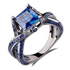 black gold sapphire engagement rings 2 0ct princess cut created blue sapphire engagement
