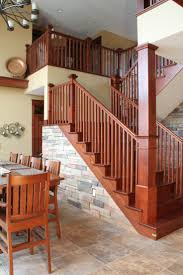 195 best entryway library images on pinterest donor wall stair systems craftsman style staircase dark stain with light colored stone accents bayer