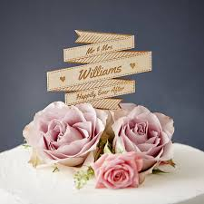 banner cake topper personalised wooden banner wedding cake topper by