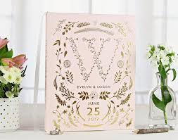 monogram guest book pink gold foil wedding guest book gold guest book