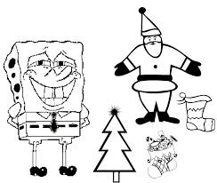 spongebob christmas and a happy santa coloring page christmas