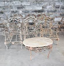 Oval Wrought Iron Patio Table by Vintage Outdoor Wrought Iron Patio Furniture Set Ebth