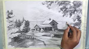 how to draw beautiful drawing how to draw a beautiful scenery in pencil step by step pencil
