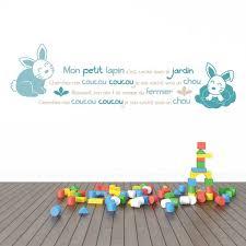sticker mural chambre bébé sticker mural comptine lapins bleus motif bébé garçon pour