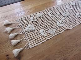 Linge De Table Ancien Long Chemin De Table Fait Main Au Crochet En Gros Coton écru Linge