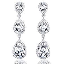tear drop earrings faith bridal silver tone 3 cz teardrop dangle