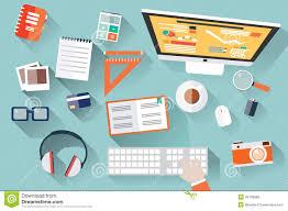 Work Desk Flat Design Objects Work Desk Long Shadow Office Desk Comput