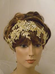 gold headpiece 1920 s gold headpiece downton flapper headband lace gold
