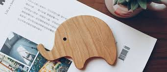 wooden animal ornaments elephant giraffe hippo 4 pieces