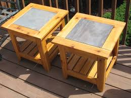 Free Wooden Outdoor Table Plans by Ceramic Tile Table Tops Projects Kevin Also Made This Pair Of