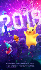 new pokémon go loading screen for 2018 new year features pikachu