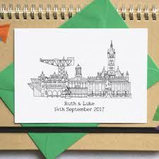 wedding invitations glasgow city skyline folded wedding invitations by becka griffin