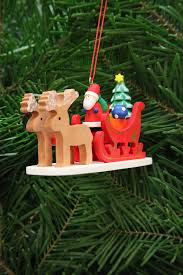 tree ornament santa claus in reindeer sleigh 9 7 cm 3 8in by