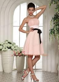baby pink bridesmaid dresses with black sash knee length 97 68