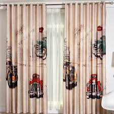 Cool Curtains Coffee Motorbike Patterned Cool Curtains