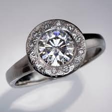 palladium engagement rings moissanite low profile diamond dust halo bezel engagement ring