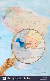 Buenos Aires Map Blue Tack On Map Of South America With Magnifying Glass Looking In