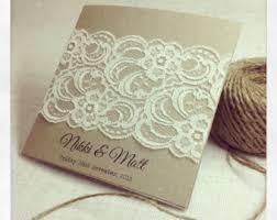vintage lace wedding invitations rustic wedding invitation laser cut por stunningstationery en etsy