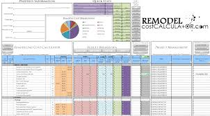 Kitchen Remodel Schedule Template by Remodel Cost Spreadsheet Natural Buff Dog