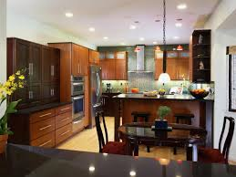 kitchen style brown cabinets asian modern kitchen bamboo flooring brown cabinets asian modern kitchen bamboo flooring red hanging pendant lights green glass tile backsplash stainless steel backsplash