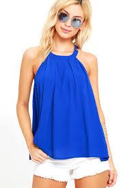 royal blue blouse top royal blue top sleeveless top blue blouse 39 00