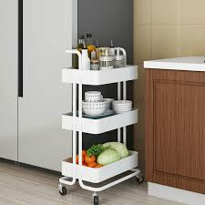 kitchen storage cupboard on wheels 3 tier rolling utility cart storage shelves multifunction trolley cart with mesh basket handles and wheels for bathroom kitchen