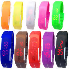 silicone bracelet watches images Sports rectangle led digital display touch screen watches rubber jpg