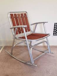 Folding Patio Chair by Vintage Redwood Slat Aluminum Lawn Rocker Rocking Chair Folding
