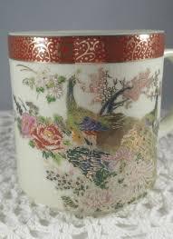 peacock coffee cups satsuma japan heritage mint coffee cups
