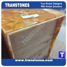 Yellow Reception Desk Translucent Engineered Glass Stone Solid Surface Yellow Spray Wave