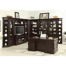 Vintage Desk With Hutch by Parker House Stanford 11pc Office Library Entertainment Center