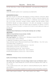 Quality Inspector Resume Resume Ior Qc 10 7 13 By Dennis Kim Oshpd Dsa Ior Qa Qc Architect