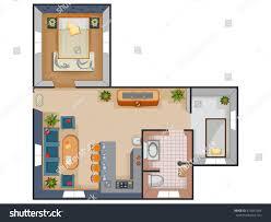 top view floor plan interior design stock vector 675847564