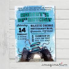 monster trucks movie invitation birthday party invite monster