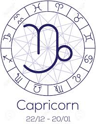 zodiac sign capricorn astrological symbol in wheel with