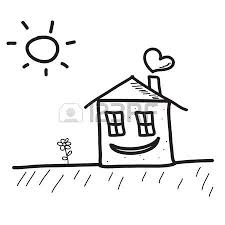 happy hand drawn sketch house with sun and flower royalty free